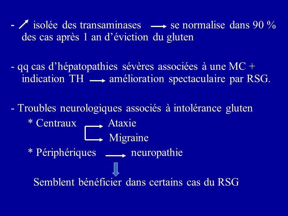 - isolée des transaminases se normalise dans 90 % des cas après 1 an déviction du gluten - qq cas dhépatopathies sévères associées à une MC + indicati
