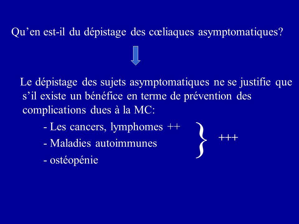 Quen est-il du dépistage des cœliaques asymptomatiques? Le dépistage des sujets asymptomatiques ne se justifie que sil existe un bénéfice en terme de