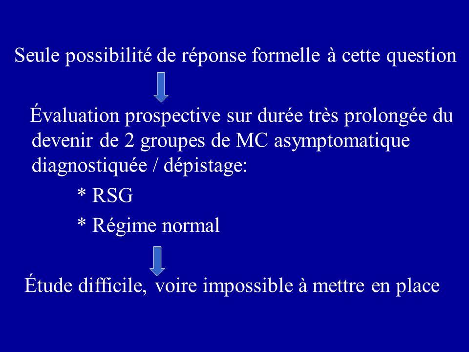 Seule possibilité de réponse formelle à cette question Évaluation prospective sur durée très prolongée du devenir de 2 groupes de MC asymptomatique di