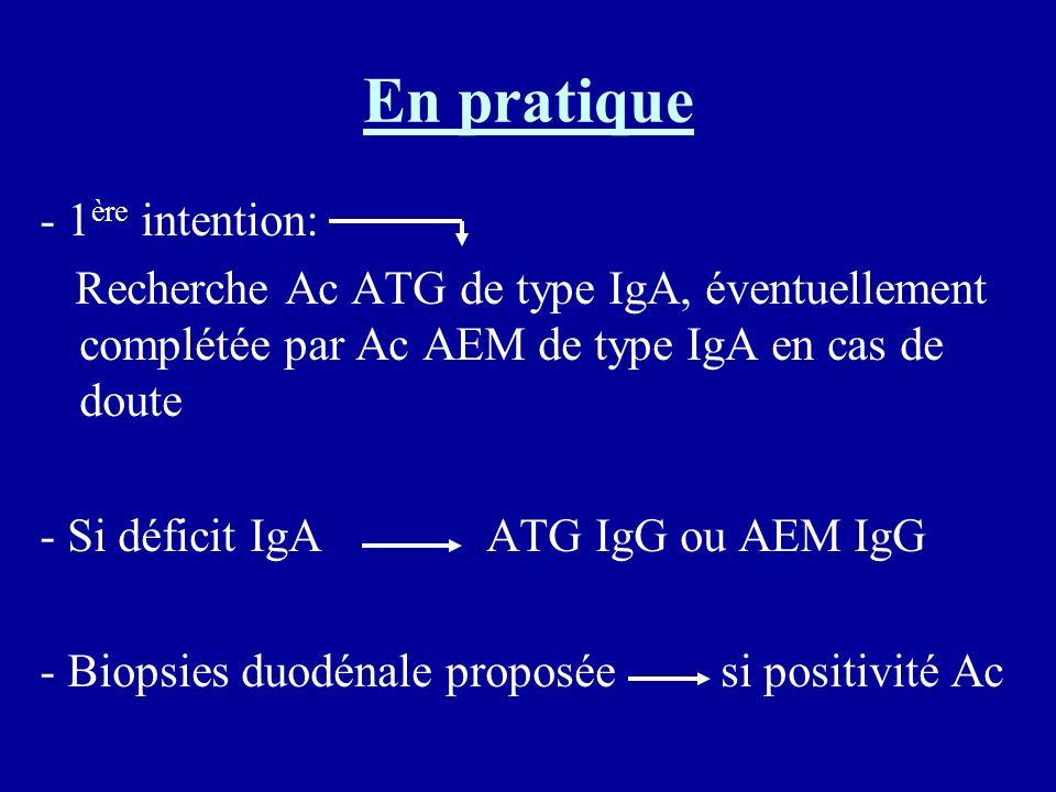 En pratique - 1 ère intention: Recherche Ac ATG de type IgA, éventuellement complétée par Ac AEM de type IgA en cas de doute - Si déficit IgA ATG IgG