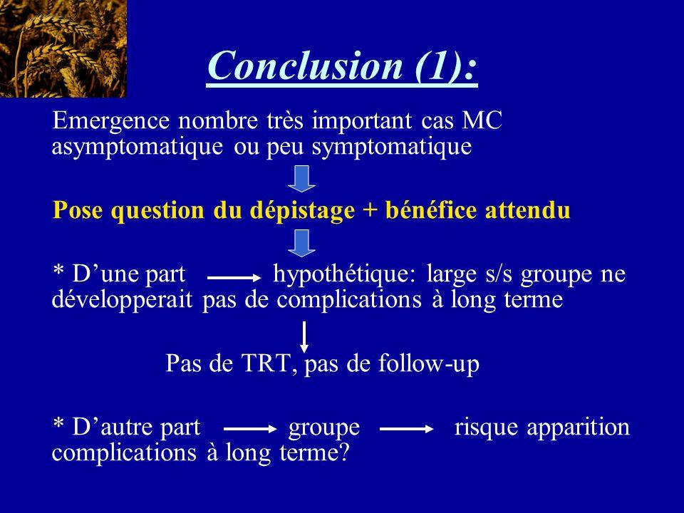 Conclusion (1): Emergence nombre très important cas MC asymptomatique ou peu symptomatique Pose question du dépistage + bénéfice attendu * Dune part h