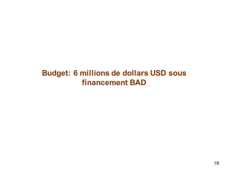 16 Budget: 6 millions de dollars USD sous financement BAD