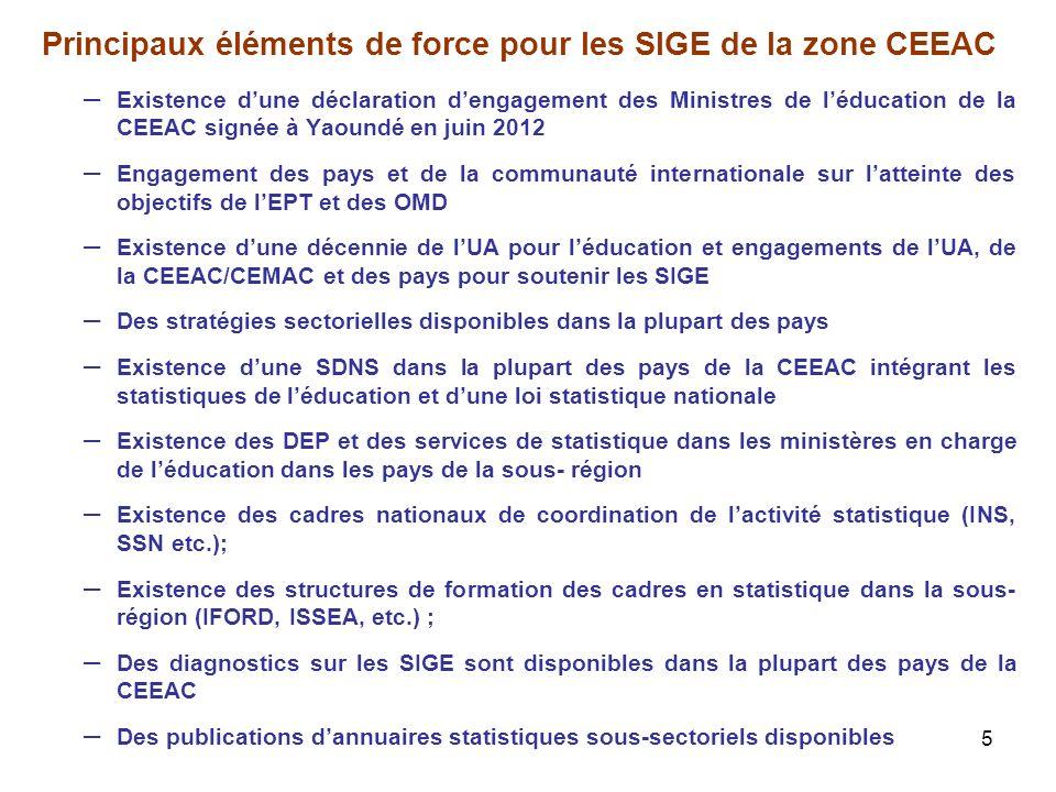 5 Principaux éléments de force pour les SIGE de la zone CEEAC – Existence dune déclaration dengagement des Ministres de léducation de la CEEAC signée