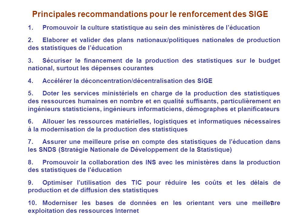7 Principales recommandations pour le renforcement des SIGE 1.Promouvoir la culture statistique au sein des ministères de léducation 2.Elaborer et val