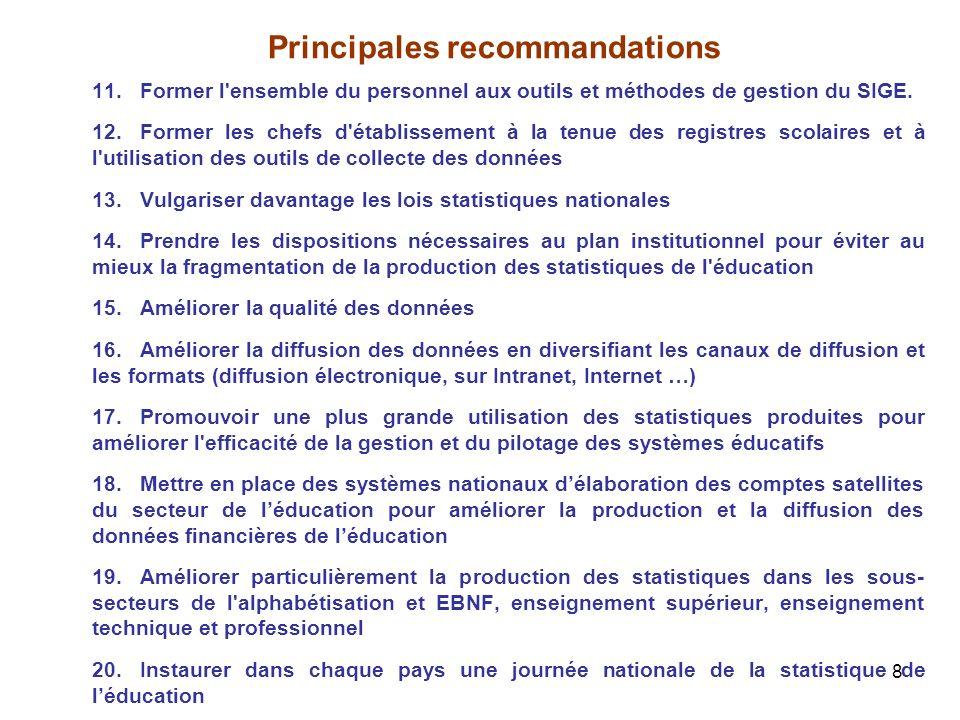 8 Principales recommandations 11.Former l'ensemble du personnel aux outils et méthodes de gestion du SIGE. 12.Former les chefs d'établissement à la te
