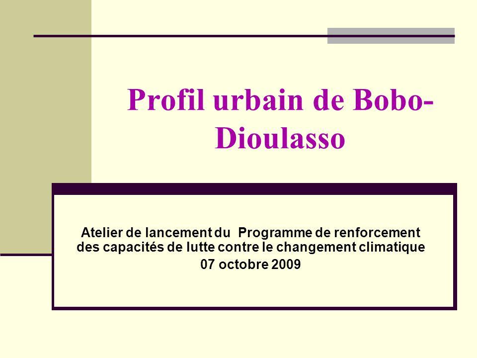 Profil urbain de Bobo- Dioulasso Atelier de lancement du Programme de renforcement des capacités de lutte contre le changement climatique 07 octobre 2