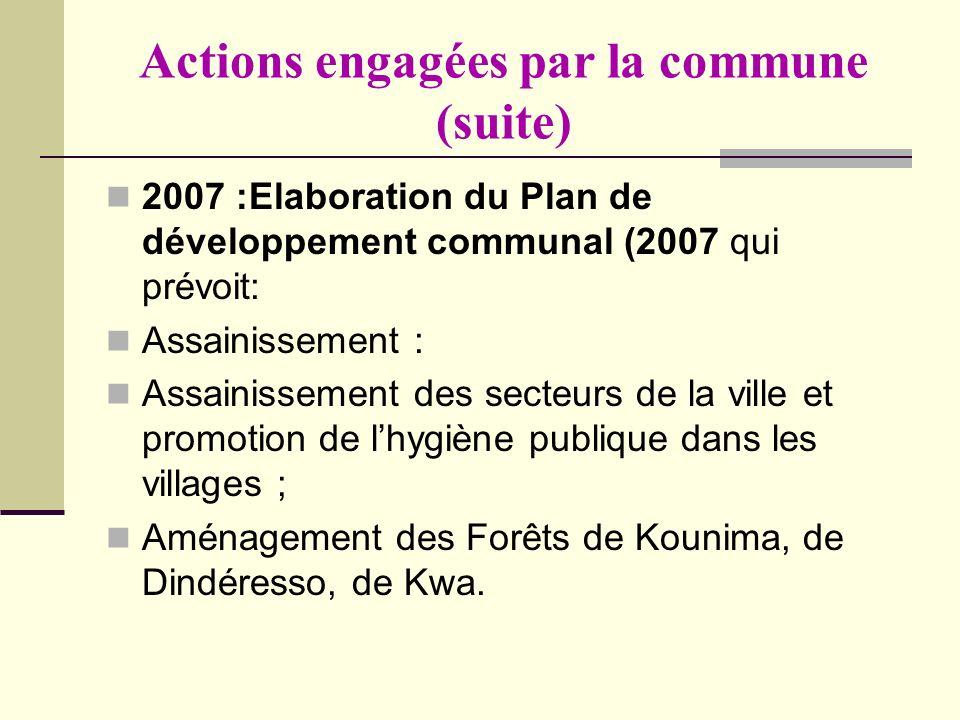 Actions engagées par la commune (suite) 2007 :Elaboration du Plan de développement communal (2007 qui prévoit: Assainissement : Assainissement des sec