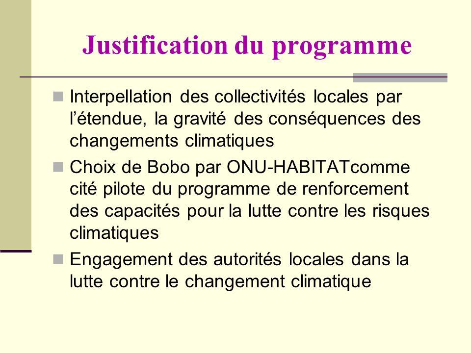 Justification du programme Interpellation des collectivités locales par létendue, la gravité des conséquences des changements climatiques Choix de Bob