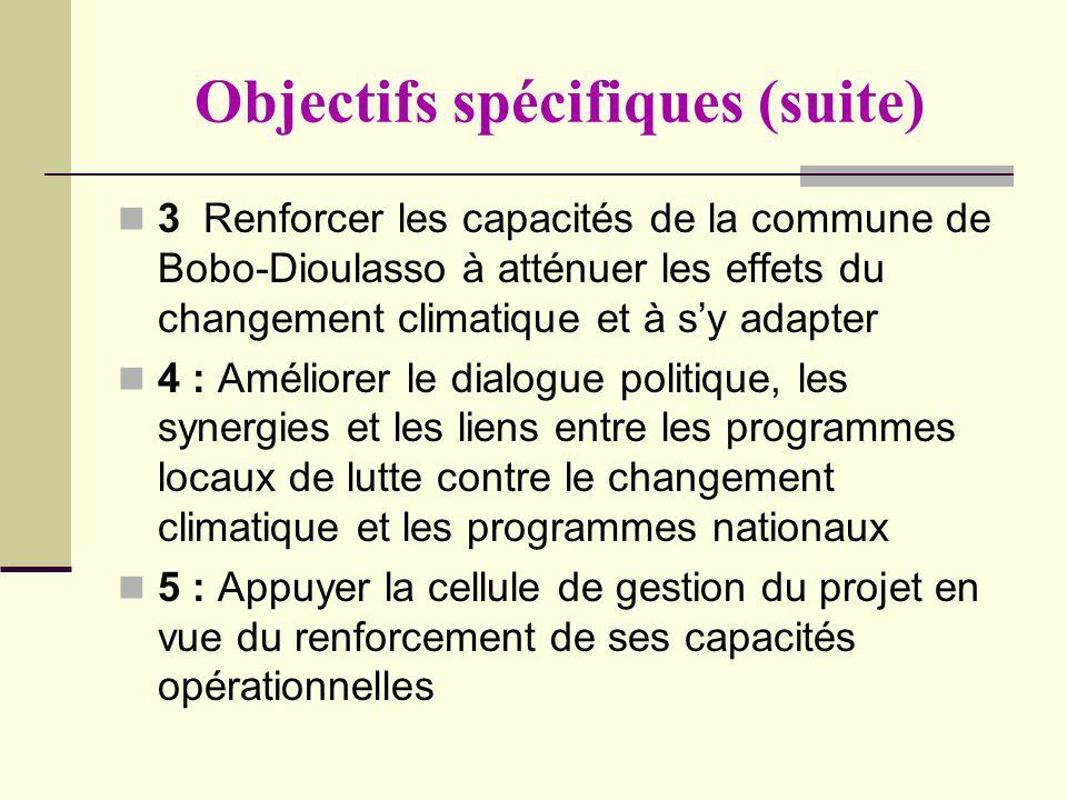 Objectifs spécifiques (suite) 3 Renforcer les capacités de la commune de Bobo-Dioulasso à atténuer les effets du changement climatique et à sy adapter