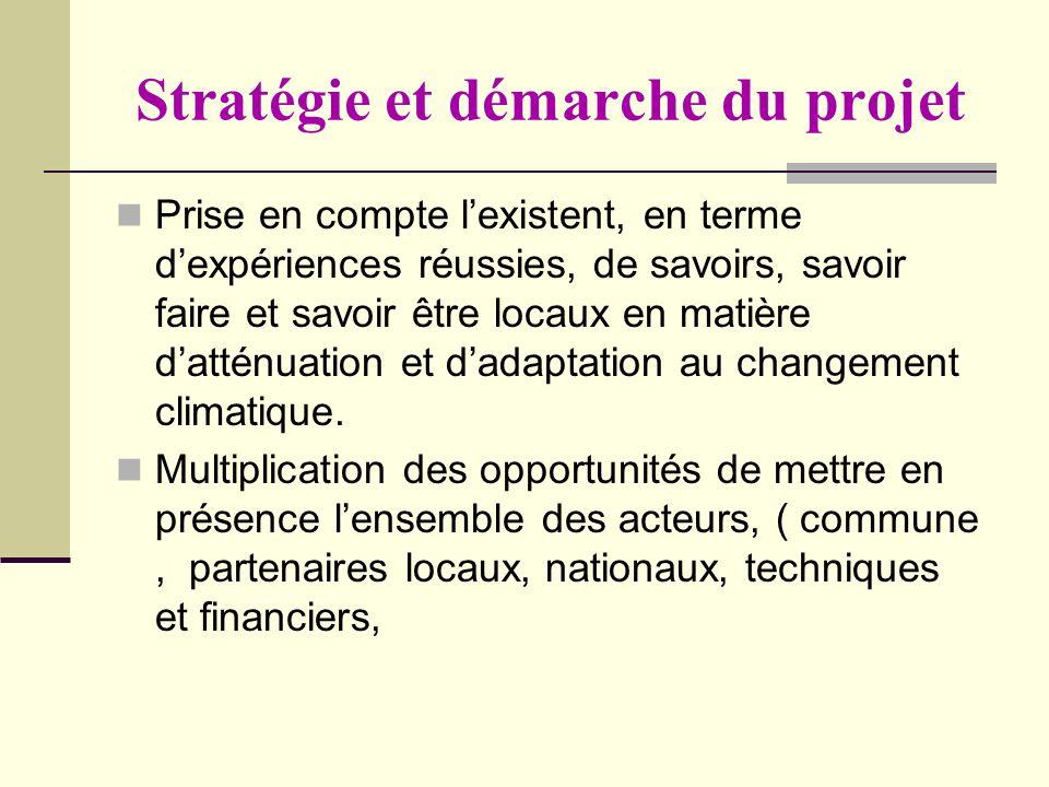 Stratégie et démarche du projet Prise en compte lexistent, en terme dexpériences réussies, de savoirs, savoir faire et savoir être locaux en matière d