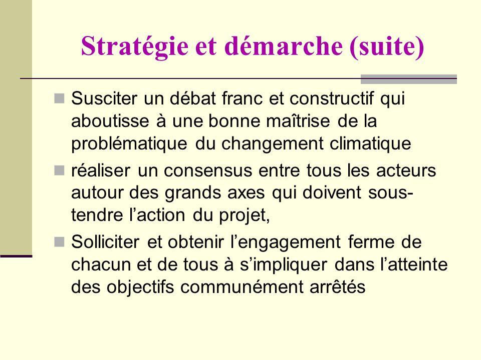 Stratégie et démarche (suite) Susciter un débat franc et constructif qui aboutisse à une bonne maîtrise de la problématique du changement climatique r