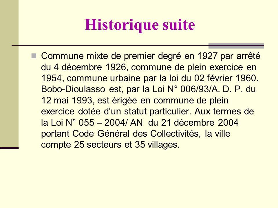 Historique suite Commune mixte de premier degré en 1927 par arrêté du 4 décembre 1926, commune de plein exercice en 1954, commune urbaine par la loi d