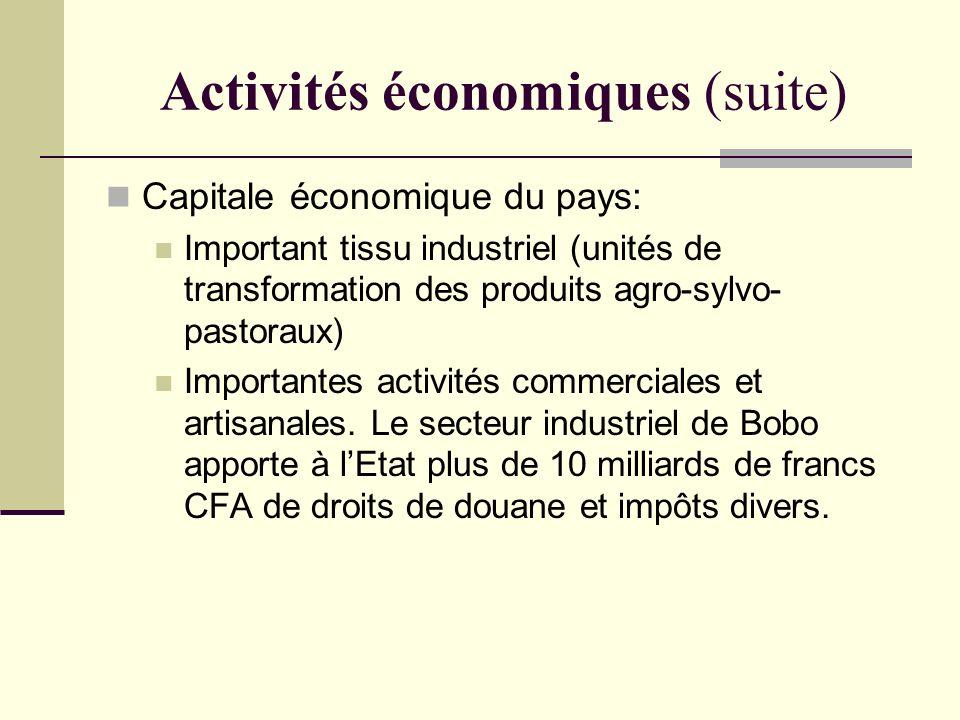 Activités économiques (suite) Capitale économique du pays: Important tissu industriel (unités de transformation des produits agro-sylvo- pastoraux) Im