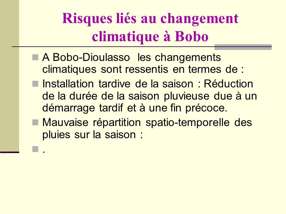 Risques liés au changement climatique à Bobo A Bobo-Dioulasso les changements climatiques sont ressentis en termes de : Installation tardive de la sai