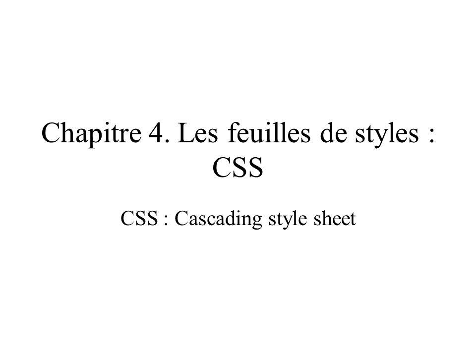 Chapitre 4. Les feuilles de styles : CSS CSS : Cascading style sheet