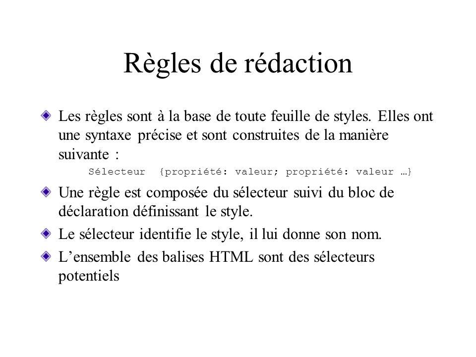 Règles de rédaction Les règles sont à la base de toute feuille de styles. Elles ont une syntaxe précise et sont construites de la manière suivante : S