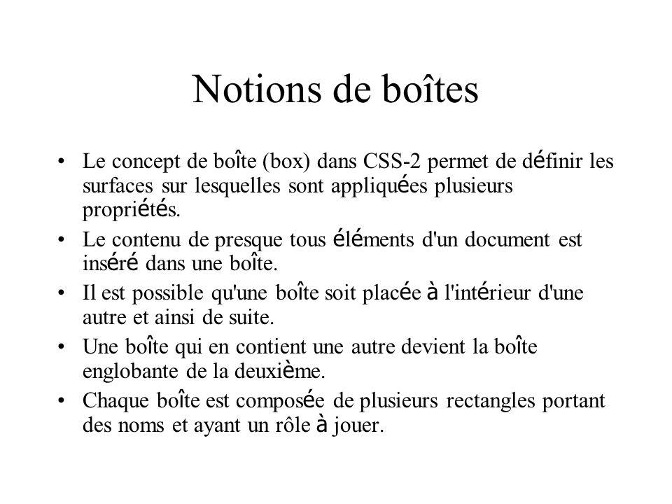 Notions de boîtes Le concept de bo î te (box) dans CSS-2 permet de d é finir les surfaces sur lesquelles sont appliqu é es plusieurs propri é t é s. L