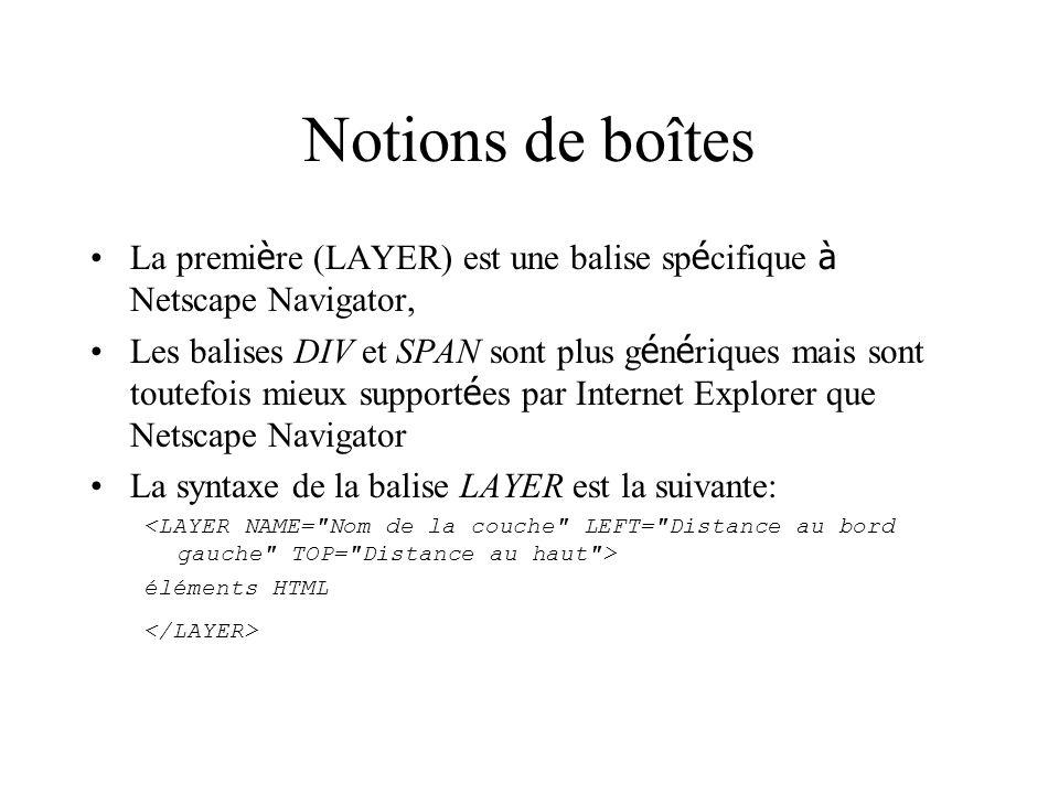 Notions de boîtes La premi è re (LAYER) est une balise sp é cifique à Netscape Navigator, Les balises DIV et SPAN sont plus g é n é riques mais sont t