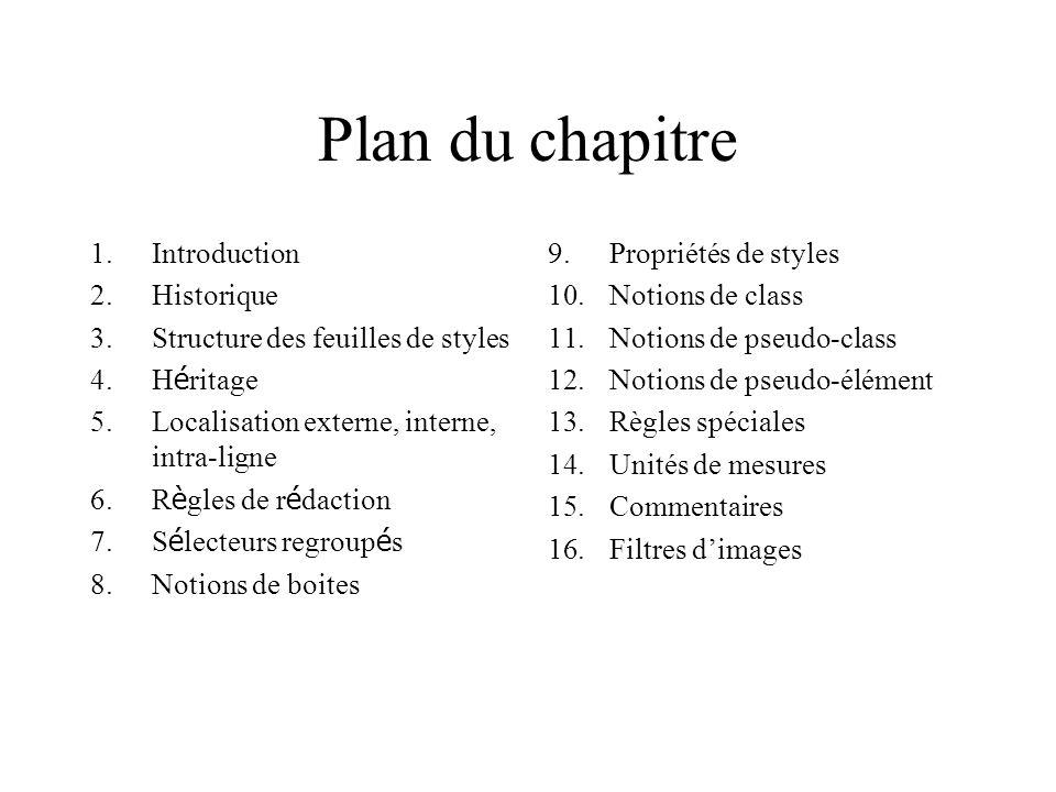 Plan du chapitre 1.Introduction 2.Historique 3.Structure des feuilles de styles 4.H é ritage 5.Localisation externe, interne, intra-ligne 6.R è gles d