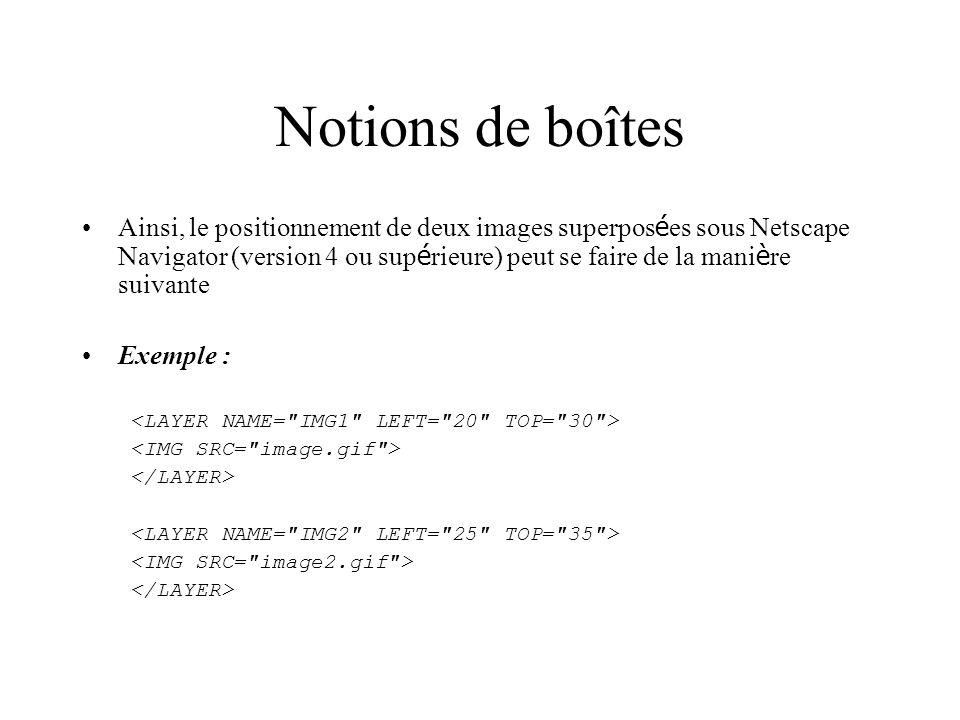 Notions de boîtes Ainsi, le positionnement de deux images superpos é es sous Netscape Navigator (version 4 ou sup é rieure) peut se faire de la mani è re suivante Exemple :