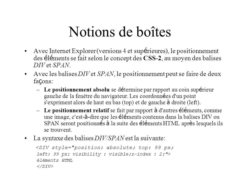 Notions de boîtes Avec Internet Explorer (versions 4 et sup é rieures), le positionnement des é l é ments se fait selon le concept des CSS-2, au moyen