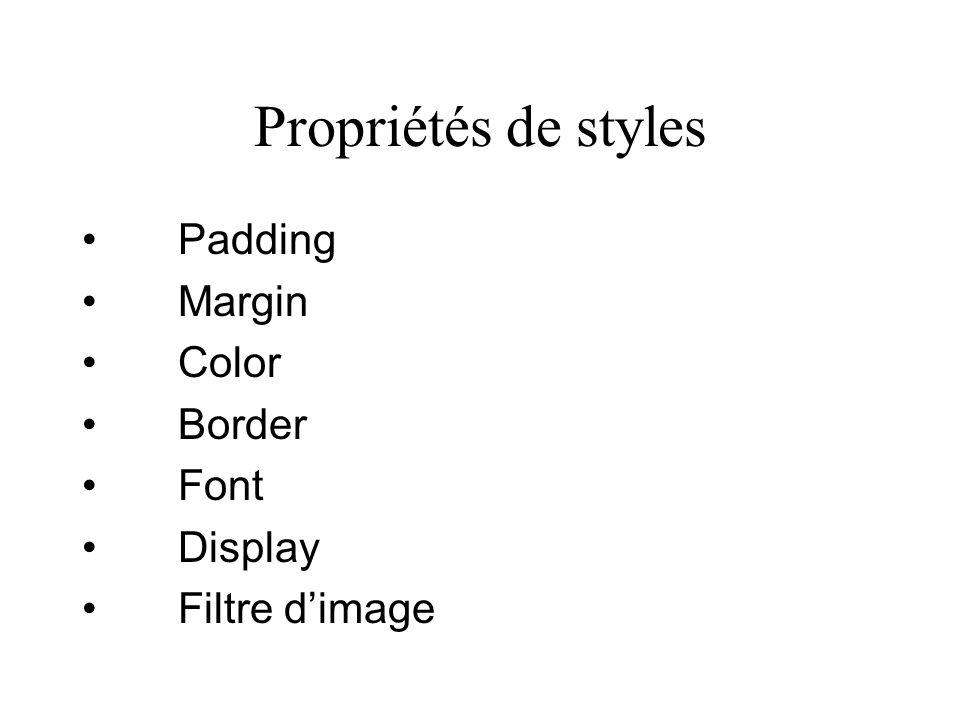Propriétés de styles Padding Margin Color Border Font Display Filtre dimage