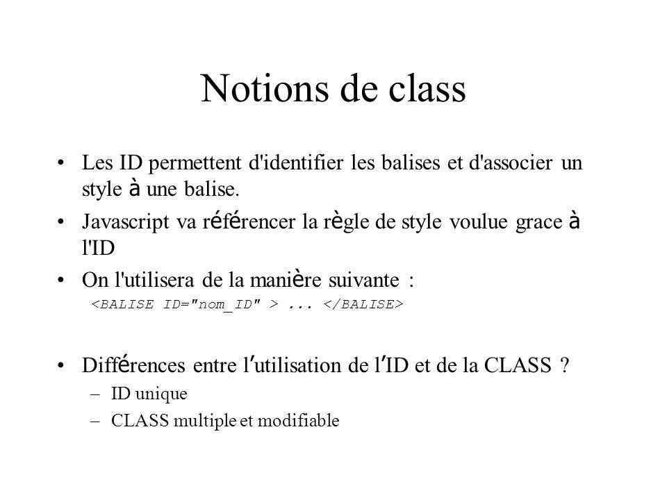 Notions de class Les ID permettent d'identifier les balises et d'associer un style à une balise. Javascript va r é f é rencer la r è gle de style voul