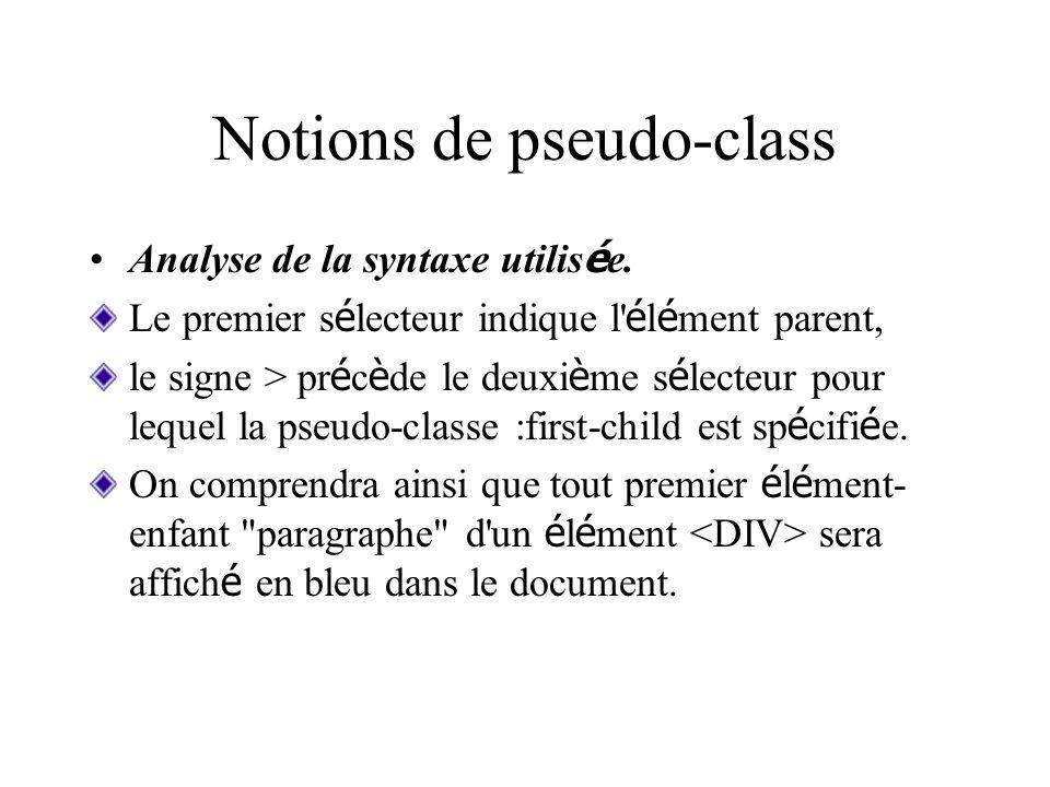 Notions de pseudo-class Analyse de la syntaxe utilis é e. Le premier s é lecteur indique l' é l é ment parent, le signe > pr é c è de le deuxi è me s