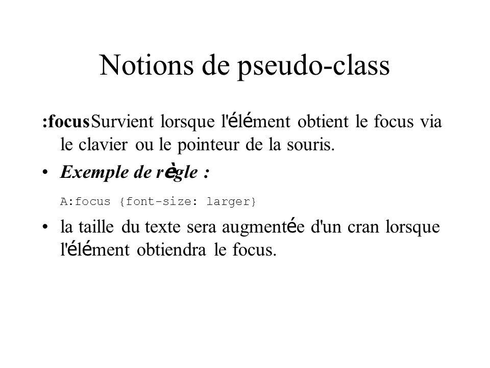 Notions de pseudo-class :focusSurvient lorsque l' é l é ment obtient le focus via le clavier ou le pointeur de la souris. Exemple de r è gle : A:focus