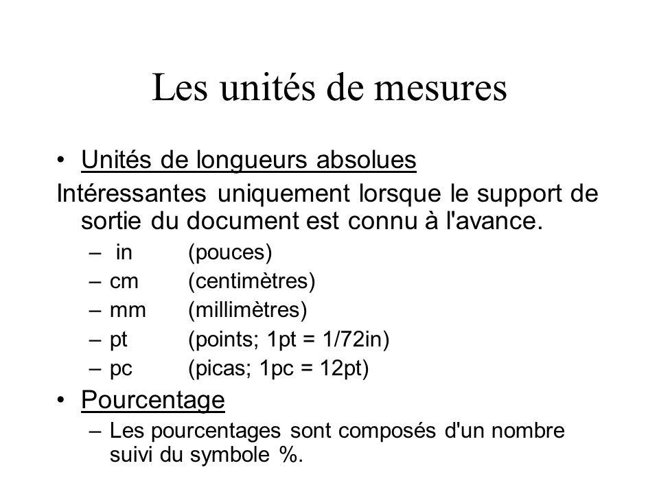 Les unités de mesures Unités de longueurs absolues Intéressantes uniquement lorsque le support de sortie du document est connu à l'avance. – in(pouces