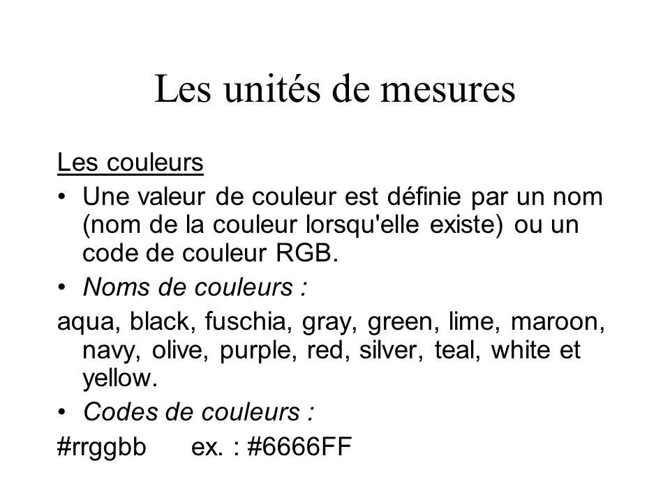 Les unités de mesures Les couleurs Une valeur de couleur est définie par un nom (nom de la couleur lorsqu'elle existe) ou un code de couleur RGB. Noms