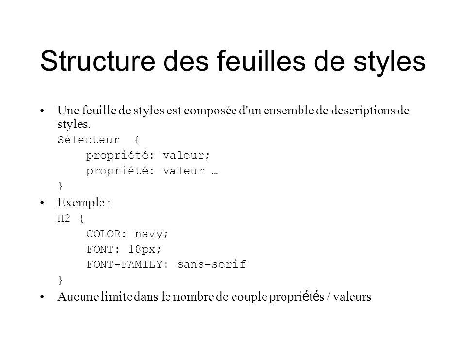 Structure des feuilles de styles Une feuille de styles est composée d'un ensemble de descriptions de styles. Sélecteur { propriété: valeur; propriété: