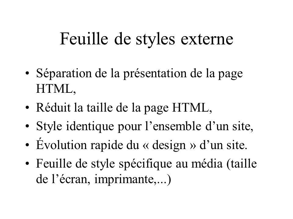 Feuille de styles externe Séparation de la présentation de la page HTML, Réduit la taille de la page HTML, Style identique pour lensemble dun site, Év