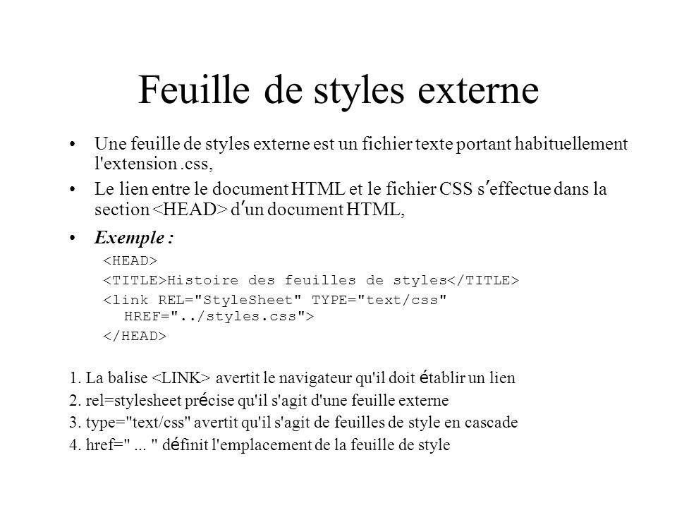 Feuille de styles externe Une feuille de styles externe est un fichier texte portant habituellement l extension.css, Le lien entre le document HTML et le fichier CSS s effectue dans la section d un document HTML, Exemple : Histoire des feuilles de styles 1.