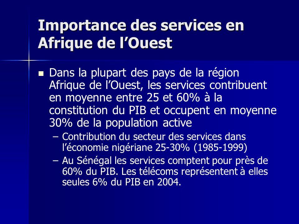 Importance des services en Afrique de lOuest Dans la plupart des pays de la région Afrique de lOuest, les services contribuent en moyenne entre 25 et 60% à la constitution du PIB et occupent en moyenne 30% de la population active – –Contribution du secteur des services dans léconomie nigériane 25-30% (1985-1999) – –Au Sénégal les services comptent pour près de 60% du PIB.
