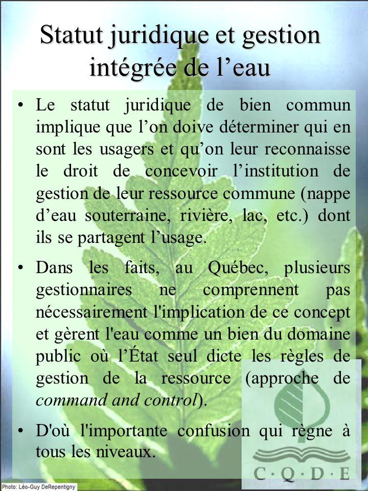 La propriété commune de leau Sortir de la dichotomie tradition-nelle: propriété privée/publique.