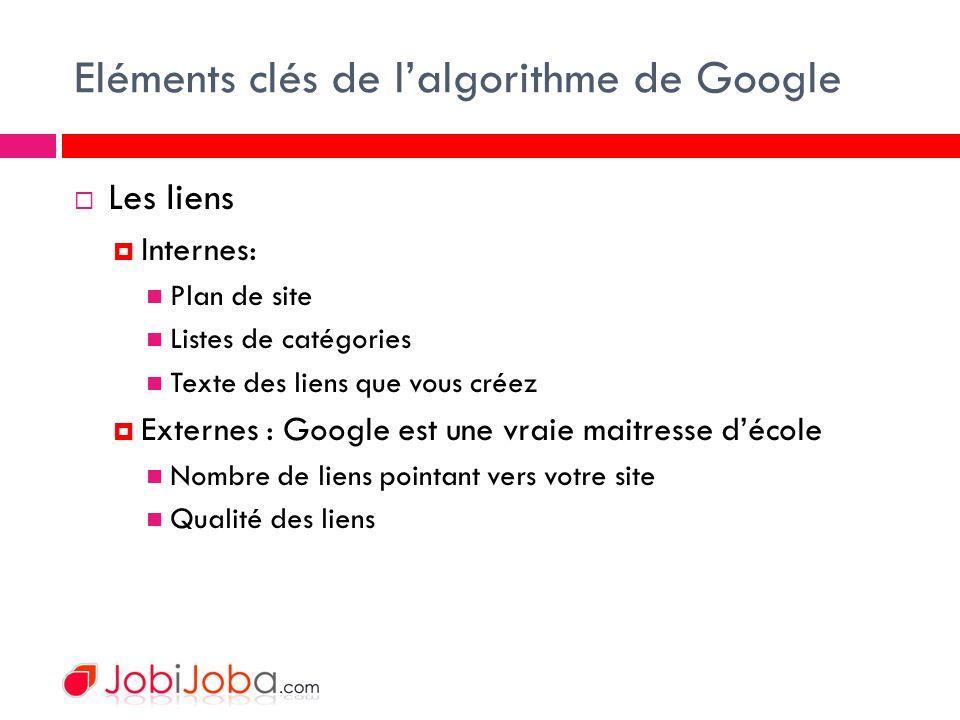 Eléments clés de lalgorithme de Google Les liens Internes: Plan de site Listes de catégories Texte des liens que vous créez Externes : Google est une vraie maitresse décole Nombre de liens pointant vers votre site Qualité des liens