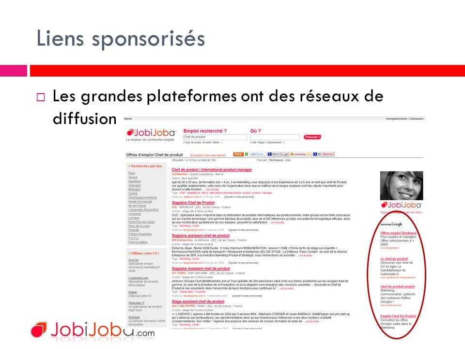 Liens sponsorisés Les grandes plateformes ont des réseaux de diffusion