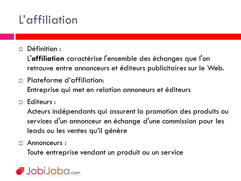 Laffiliation Définition : L affiliation caractérise l ensemble des échanges que l on retrouve entre annonceurs et éditeurs publicitaires sur le Web.