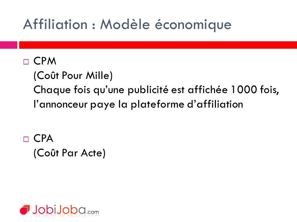 Affiliation : Modèle économique CPM (Coût Pour Mille) Chaque fois quune publicité est affichée 1000 fois, lannonceur paye la plateforme daffiliation CPA (Coût Par Acte)