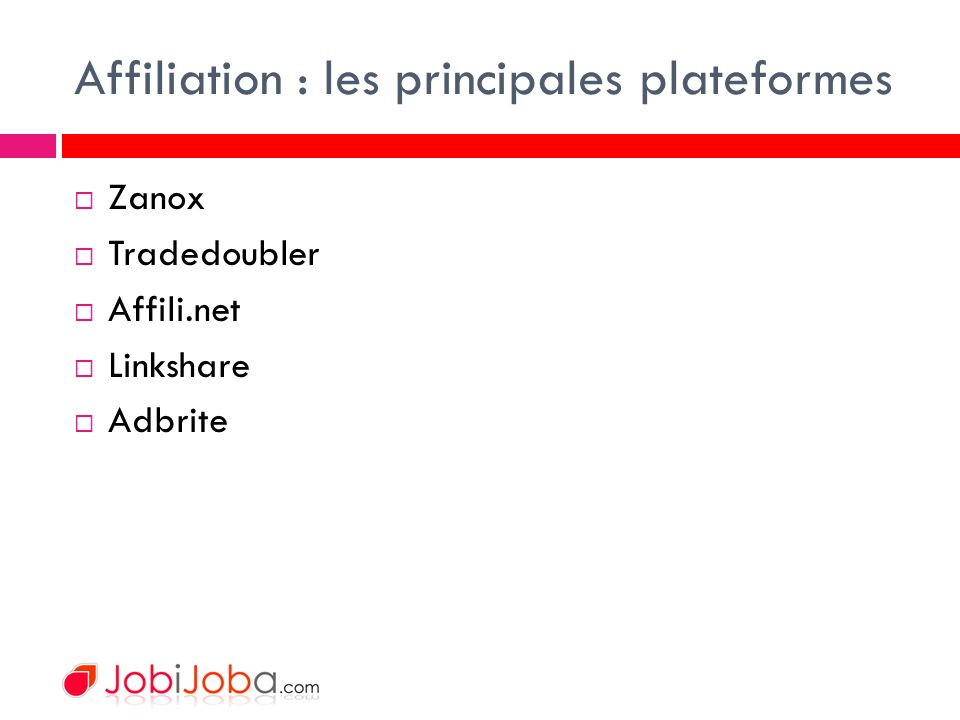 Affiliation : les principales plateformes Zanox Tradedoubler Affili.net Linkshare Adbrite
