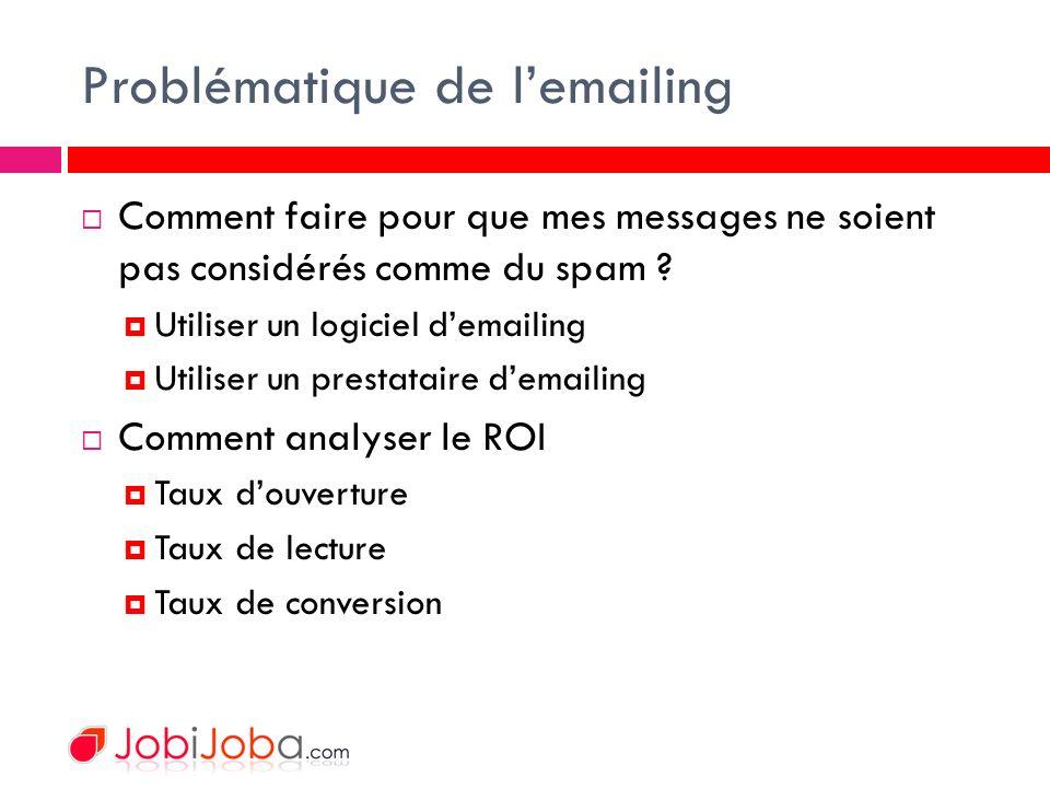Problématique de lemailing Comment faire pour que mes messages ne soient pas considérés comme du spam .