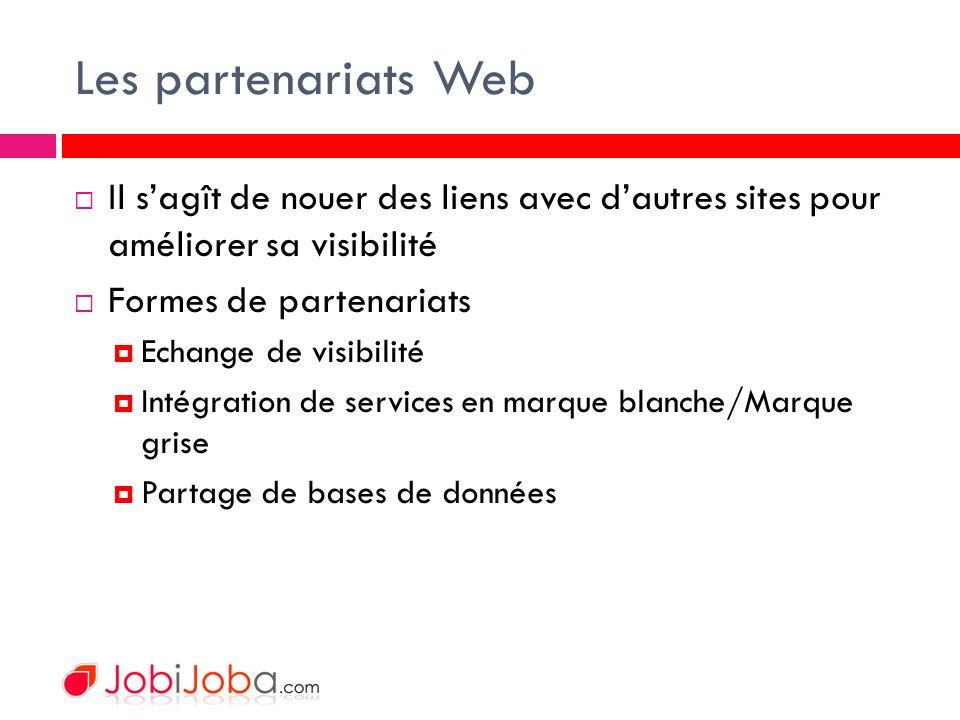 Les partenariats Web Il sagît de nouer des liens avec dautres sites pour améliorer sa visibilité Formes de partenariats Echange de visibilité Intégration de services en marque blanche/Marque grise Partage de bases de données