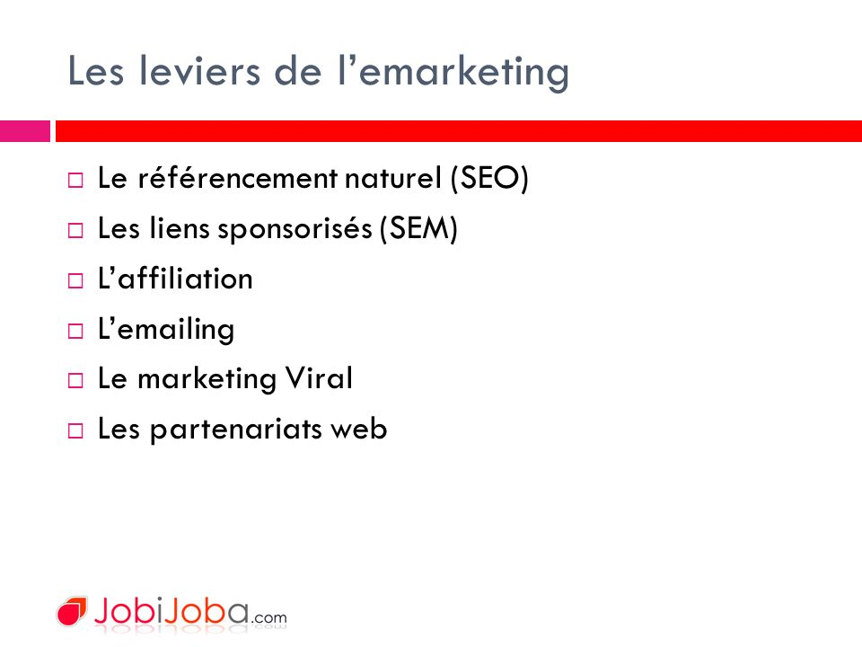 Les leviers de lemarketing Le référencement naturel (SEO) Les liens sponsorisés (SEM) Laffiliation Lemailing Le marketing Viral Les partenariats web