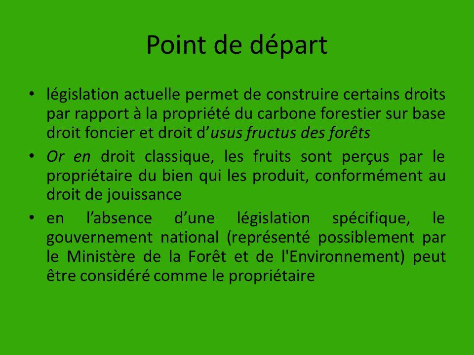 Point de départ législation actuelle permet de construire certains droits par rapport à la propriété du carbone forestier sur base droit foncier et dr