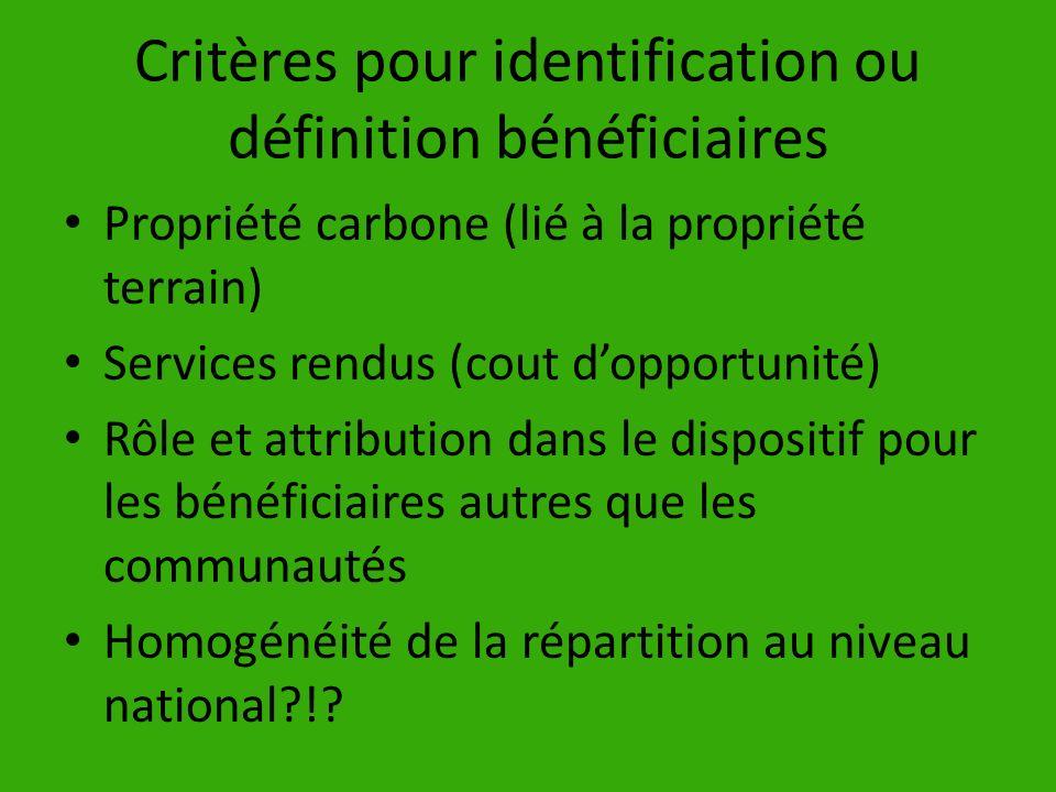 Critères pour identification ou définition bénéficiaires Propriété carbone (lié à la propriété terrain) Services rendus (cout dopportunité) Rôle et at