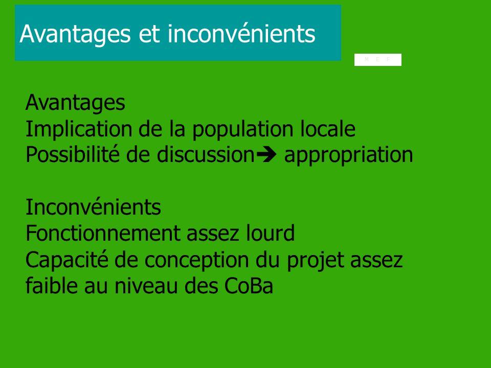 Avantages Implication de la population locale Possibilité de discussion appropriation Inconvénients Fonctionnement assez lourd Capacité de conception