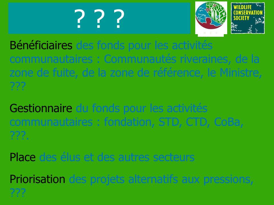 Bénéficiaires des fonds pour les activités communautaires : Communautés riveraines, de la zone de fuite, de la zone de référence, le Ministre, ??? Ges