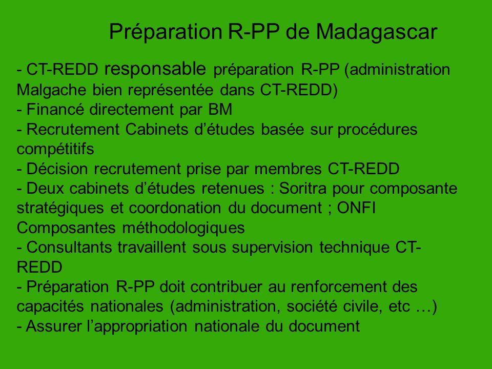 - CT-REDD responsable préparation R-PP (administration Malgache bien représentée dans CT-REDD) - Financé directement par BM - Recrutement Cabinets dét