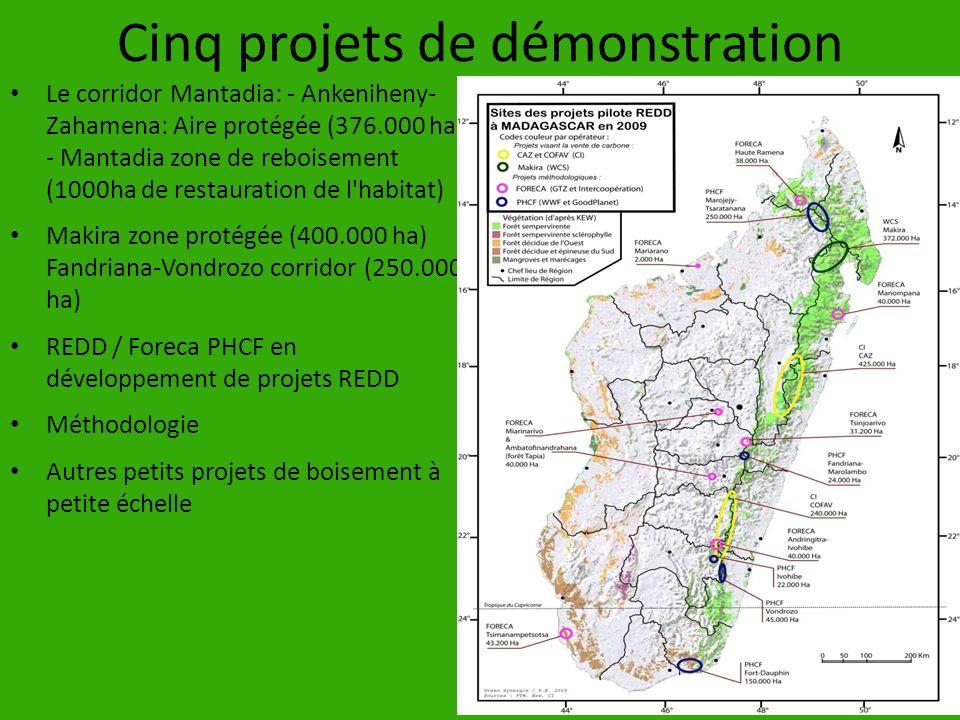 Cinq projets de démonstration Le corridor Mantadia: - Ankeniheny- Zahamena: Aire protégée (376.000 ha) - Mantadia zone de reboisement (1000ha de resta
